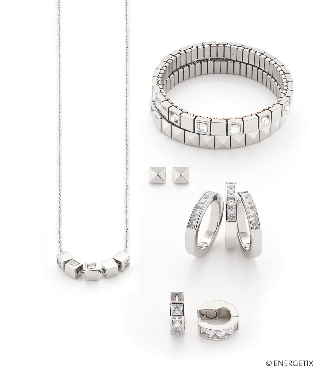 Met Swarovski® kristallen ingelegde zilverkleurige Energetix magneetsieraden