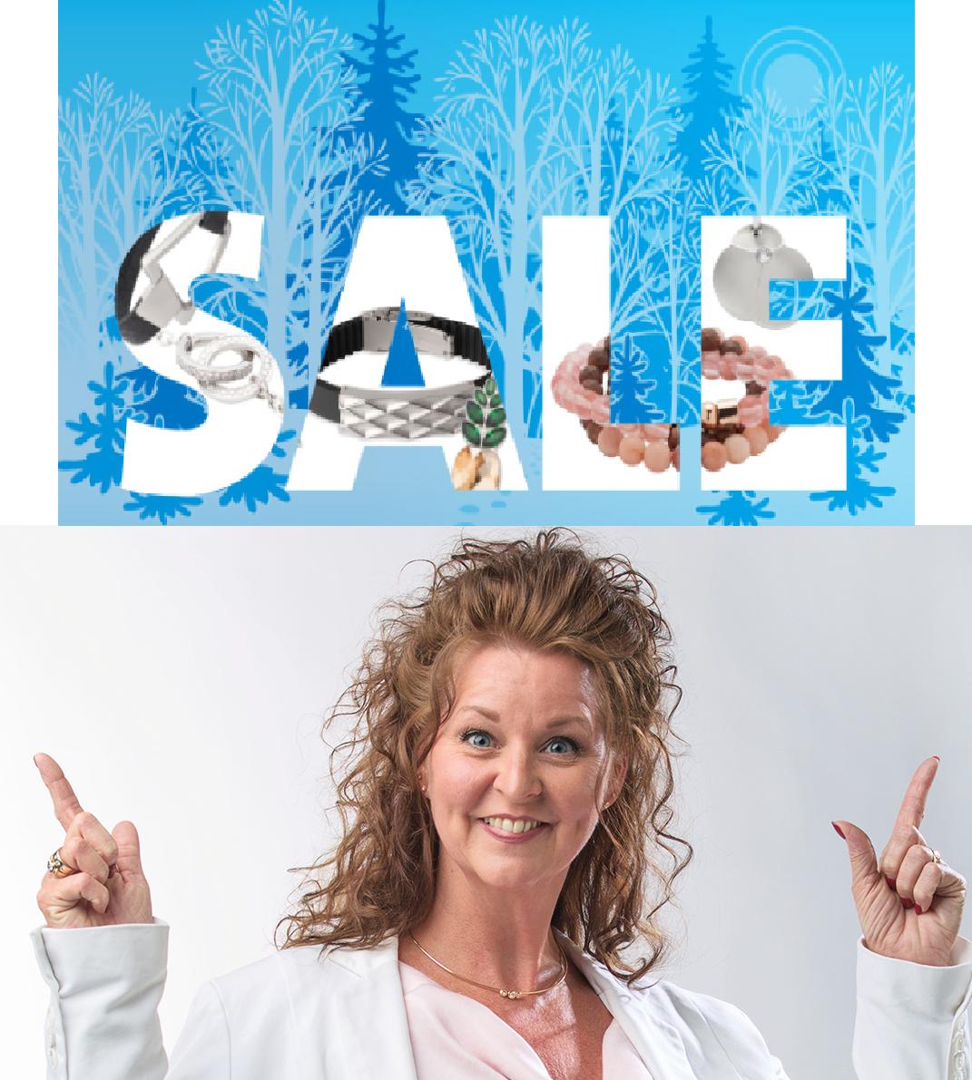 Afbeelding met letters sale en foto Simone voor Energetix Sale